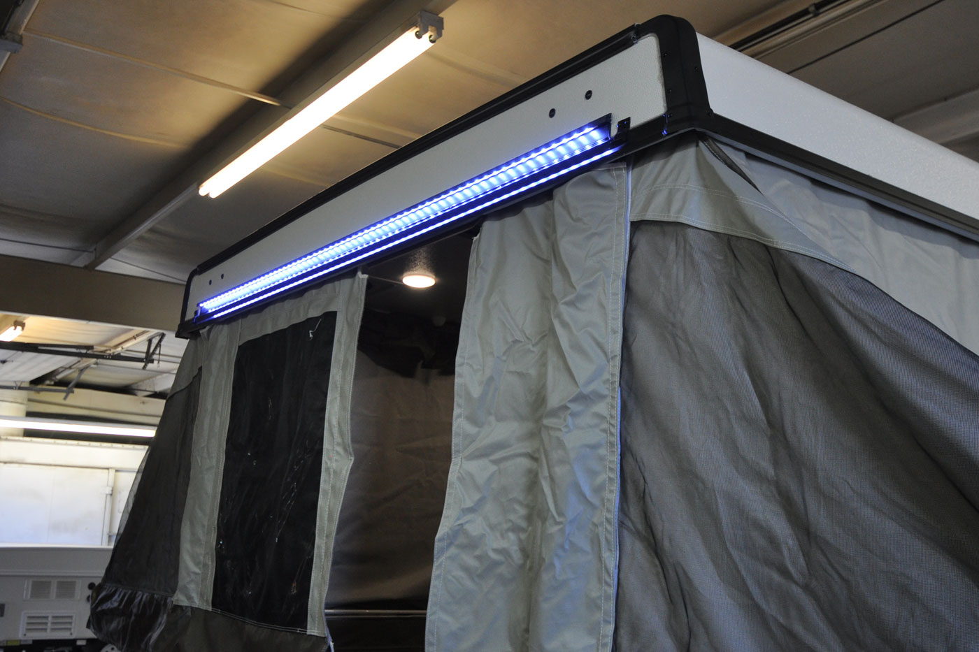 Options Accessories For Flagstaff Pop Up Trailers Roberts Sales Starcraft Camper Fuse Box Parts Led Light Rail 8 Roof